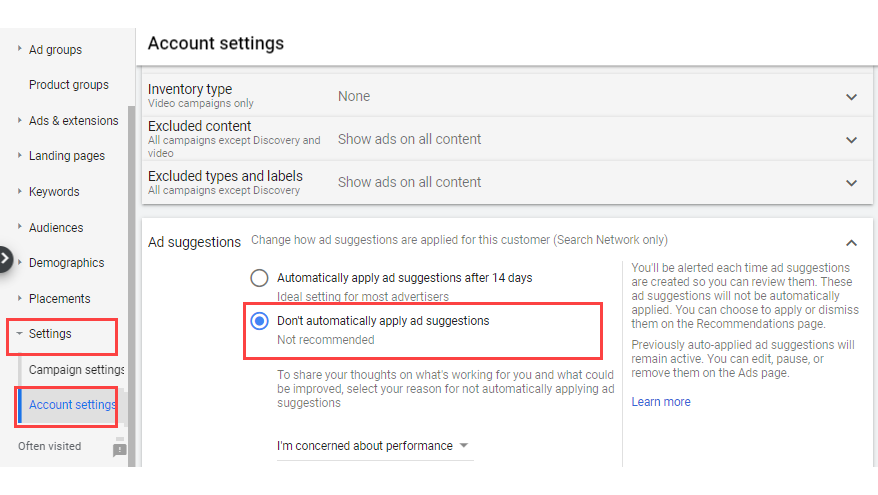 manage google ad suggestions